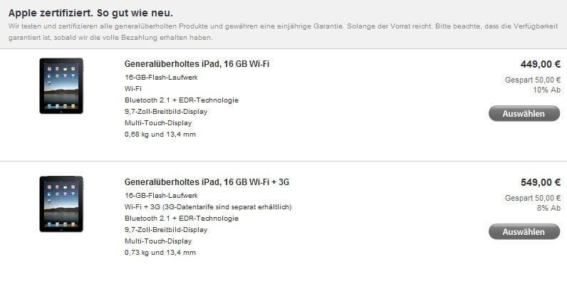 Generalüberholte iPads
