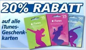 real iTunes Gutschein mit 20% Rabatt