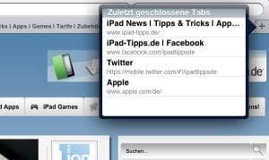 "iPad Safari: ""Liste geschlossener Tabs"" anzeigen lassen"
